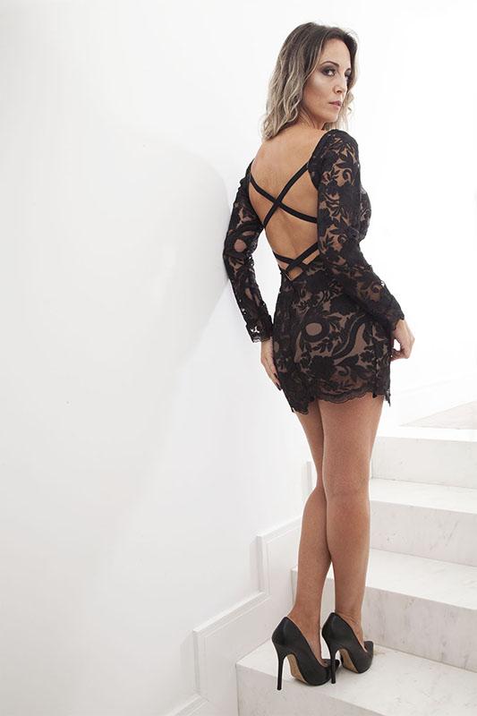 Vestido Curto Tule Black - Andreia Mazzochi Store - costas
