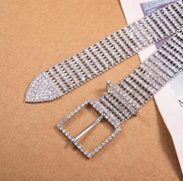 Cinto Strass Luxo Fivela Simples Prata