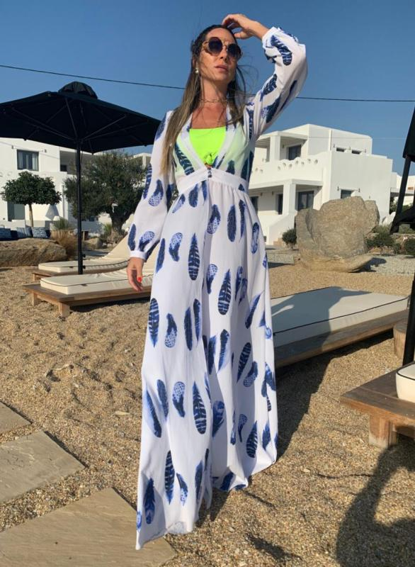 Saída de Praia Longa Chemise Pena Branca e Azul