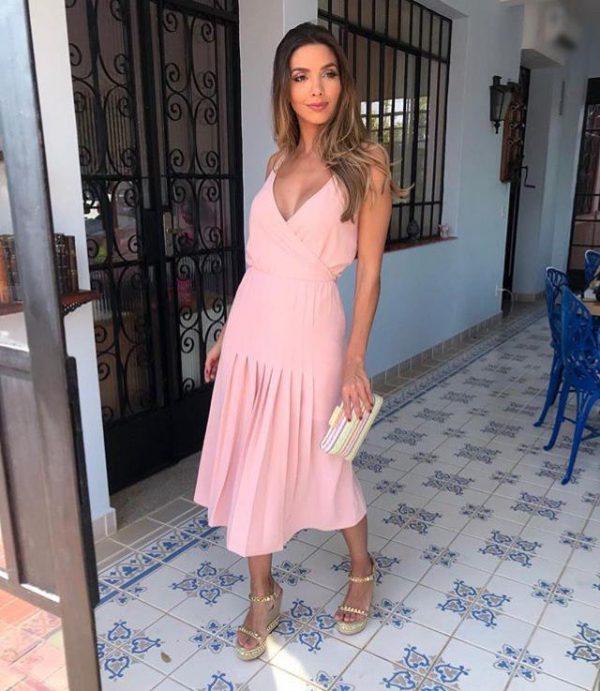 Vestido Midi Plisssado Rosé