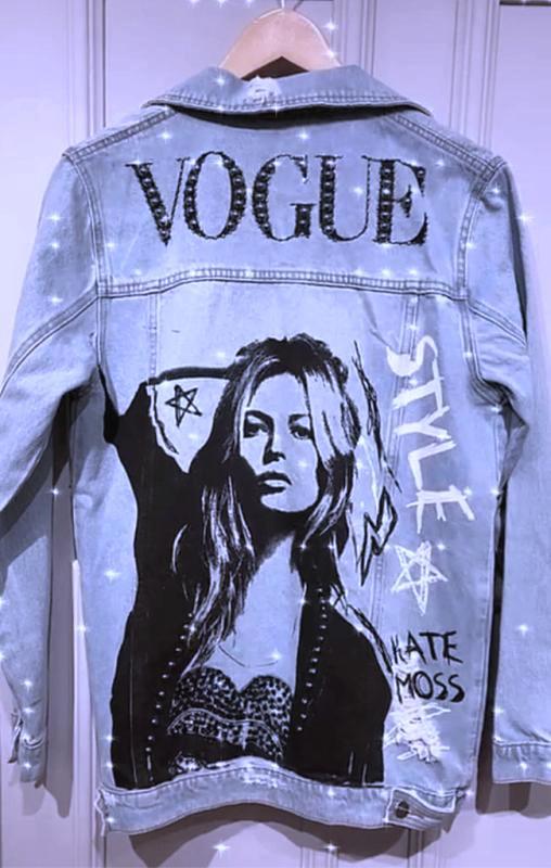 Maxi Jaqueta Jeans Azul Kate Vogue Bordada Manga Longa