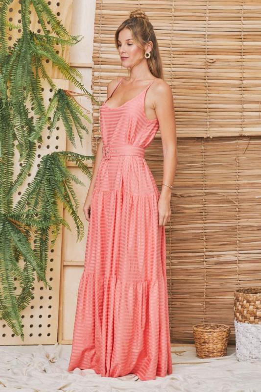 Vestido Longo com Cinto Forrado Rosa Resort